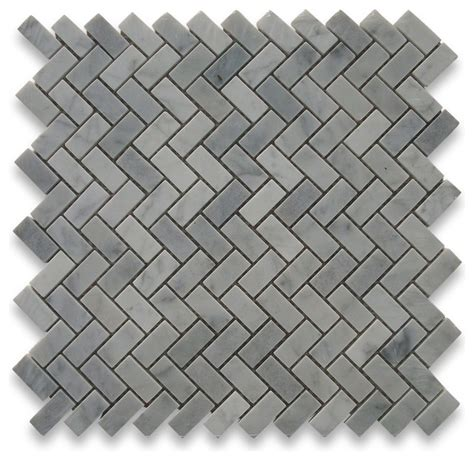 carrara marble herringbone mosaic tile 5 8 x 1 1 4 polished traditional floor tiles by