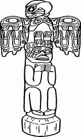 Totem Coloring Native Poles Pole Tiki Carved Awesome Template Printable Templates Popular Play sketch template