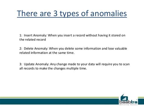 Data Modification Anomalies Are Caused By by Normalisation And Anomalies