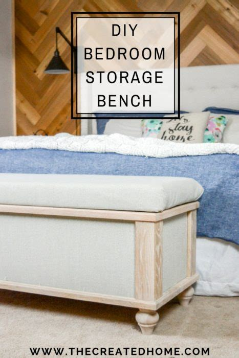 diy small bedroom storage diy upholstered storage bench the created home 15190