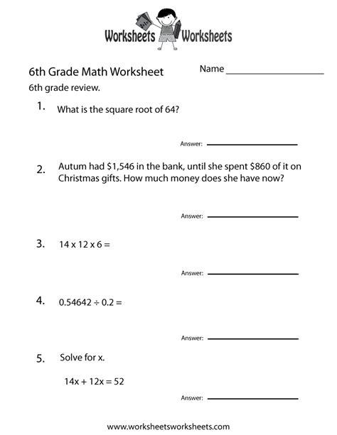 sixth grade math practice worksheet worksheets worksheets