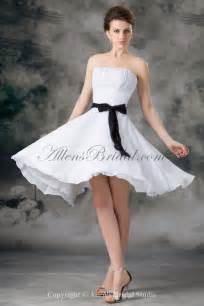 knee length wedding dresses allens bridal chiffon strapless neckline knee length column sash wedding dress