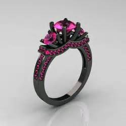 black gold rings with pink diamonds inofashionstyle - Black Gold Engagement Rings