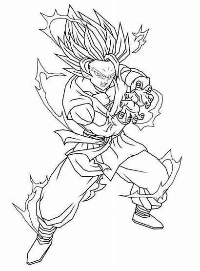 Goku Kamehameha Dibujos Coloring Dragon Colorear Printable