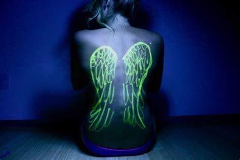 black light tattoos girl wings  fav images