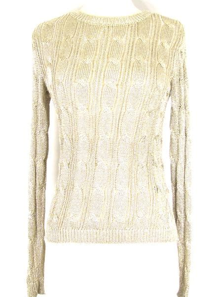 New Ralph Lauren Women Metallic Gold Knit Sweater Top
