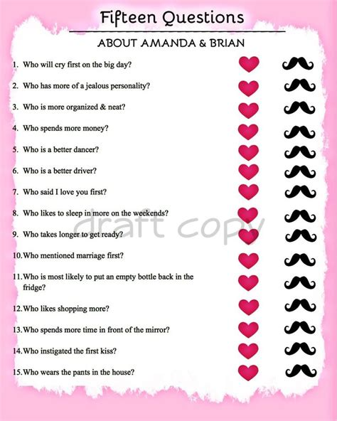 wedding shower questions 17 best ideas about bridal shower questions on