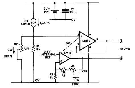 Simple Temperature Sensor Dvm Interface Circuit