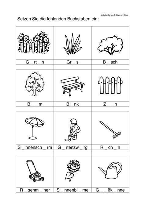 Der Garten Unterrichtsmaterial by Aphasie Vokale Einsetzen Im Semantischen Feld Garten