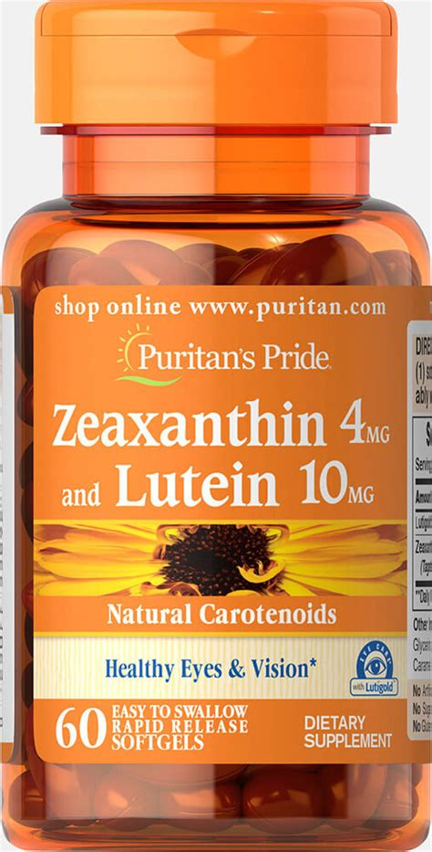 Zeaxanthin 4mg with Lutein 10mg 60 Softgels | Eye Health ...