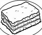 Lasagna Clip Coloring Clipart Sketch Template sketch template