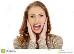 Scared Screaming Woman Face