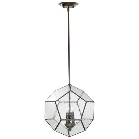 antique bronze modern seeded glass pentagon pendant light