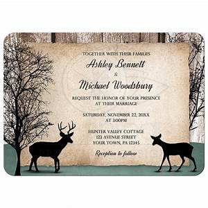 wedding invitations deer rustic woodsy With free printable deer wedding invitations