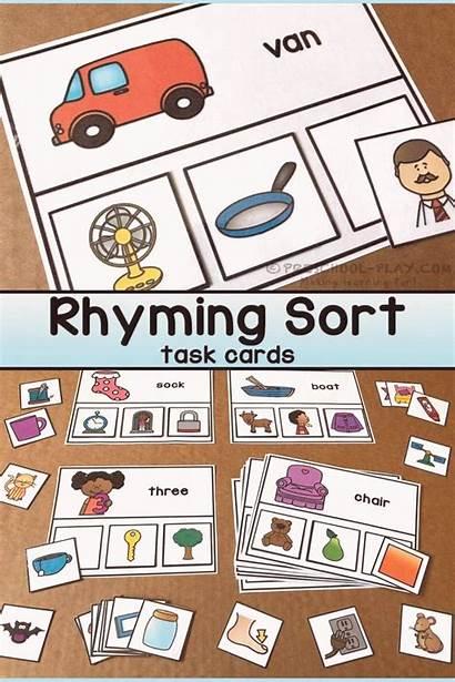 Rhyming Cards Preschool Kindergarten Task Printable Sort