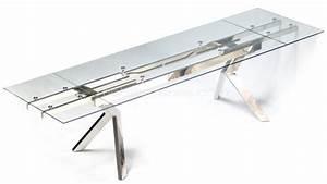 Plaque De Verre Pour Table : table de salle manger en verre et pieds acier metallia ~ Dailycaller-alerts.com Idées de Décoration