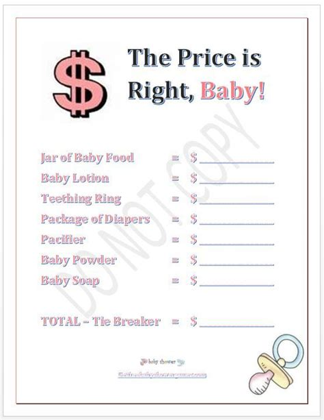 Baby Shower Price Is Right  Baby Shower Price Is Right