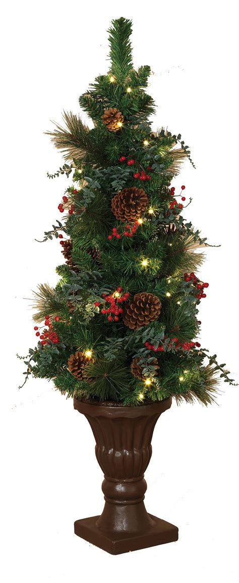 prelit battery operated potted christmas tree artificial trees 4 battery operated prelit potted tree with led clear lights