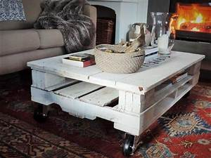 Pallet shabby chic white coffee table with wheels 101 for White coffee table with wheels
