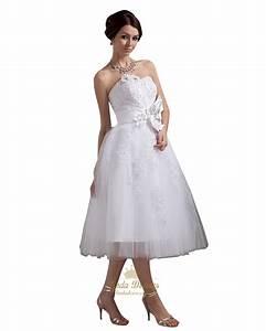 White tea length strapless tulle wedding dress with beaded for White tea length wedding dress