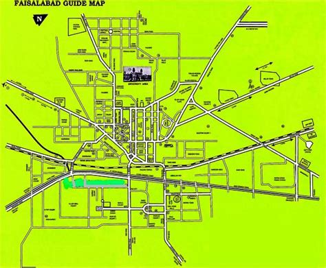 Faisalabad city Guide Map with its streets and roads ...