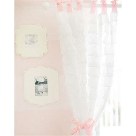 white ruffled curtain panels