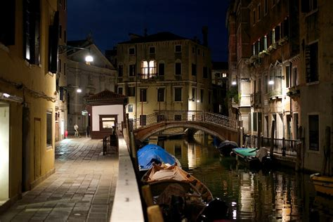 sweeping  stones venice canal  night italy