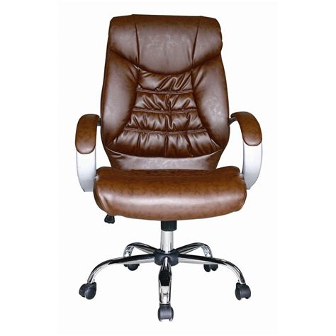 brown faux leather luxury high back swivel executive pc
