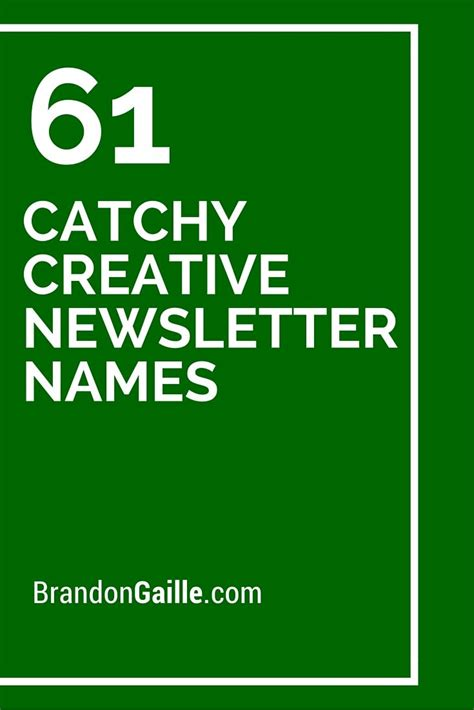 catchy creative newsletter names newsletter names