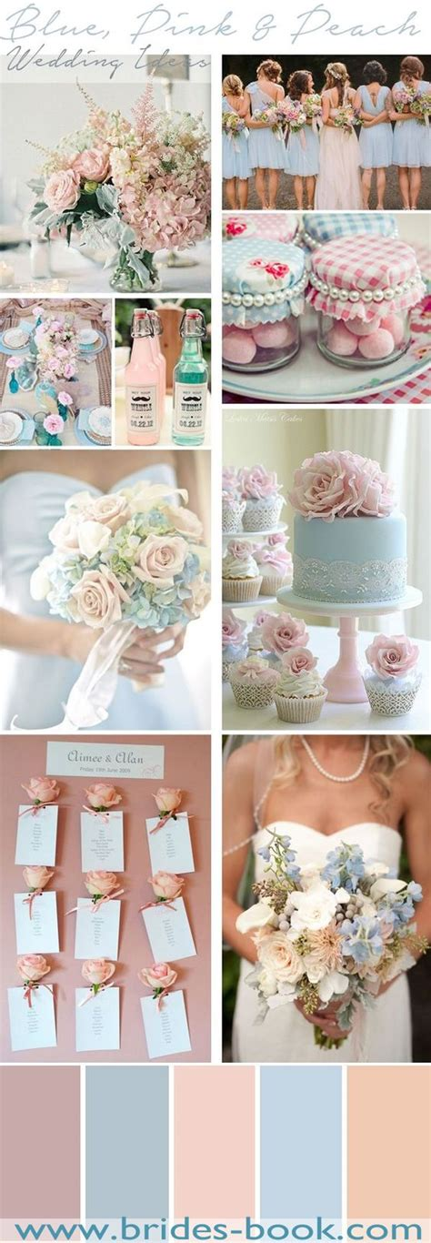 blue pink peach wedding inspiration 2016 popular