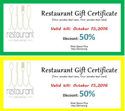 restaurant gift certificate template  word document hub