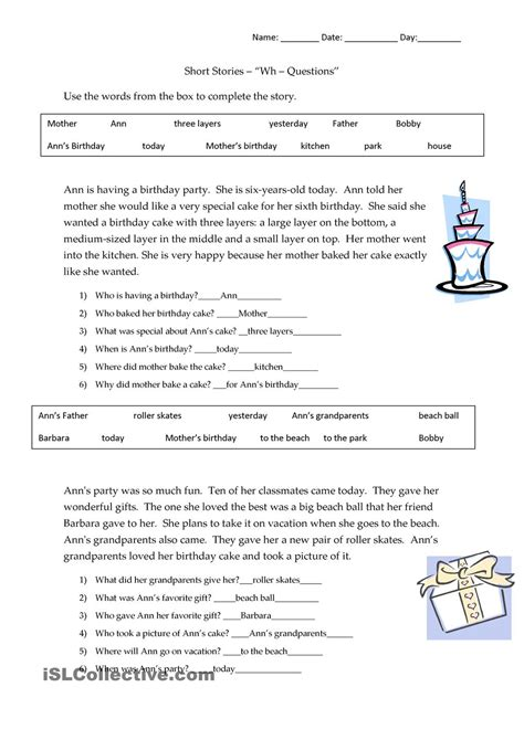 narration worksheets with answers stories wh questions answers language
