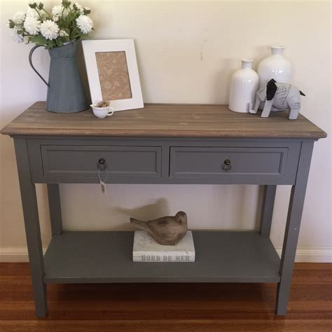 grey entryway table 100cm 2 drawer console provincial grey table