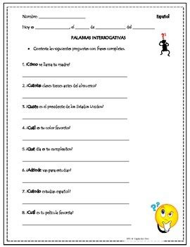 question words practice interrogativas tpt