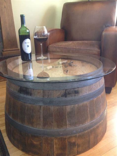 tonneau de vin decoration reversible reclaimed half wine barrel table with tempered glass top