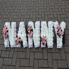 nanny floral letter wreath  clusters funeral flowers