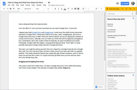 how to drag and drop notes from google keep into google