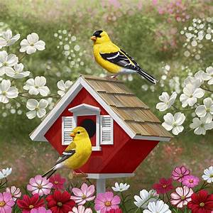 Red Birdhouse And Goldfinches Painting by Crista Forest