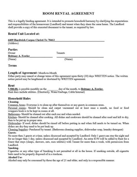 room rental agreement template 39 simple room rental agreement templates template archive