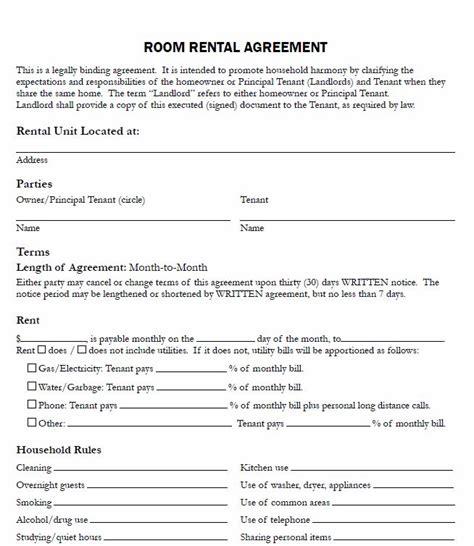 printable sample  printable rental agreements form