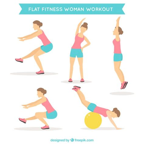 exercice de la chaise doing different exercises in flat design vector free