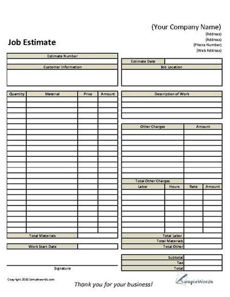 basic job estimate form construction business estimate