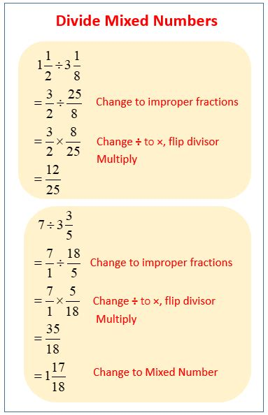 dividing mixed numbers examples solutions
