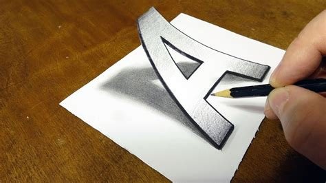 Very Easy Drawing 3d Letter A