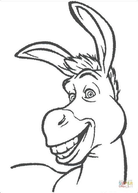smiling donkey coloring page  printable coloring pages