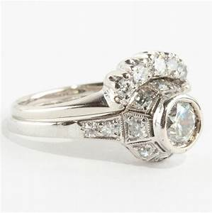ladies vintage 190039s 18k white gold diamond solitaire With 1900 wedding rings