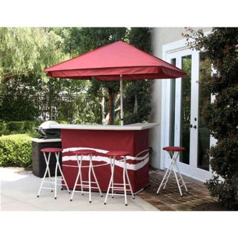 best of times classic burgundy all weather patio bar set