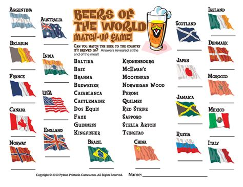 beer trivia placemat printable games