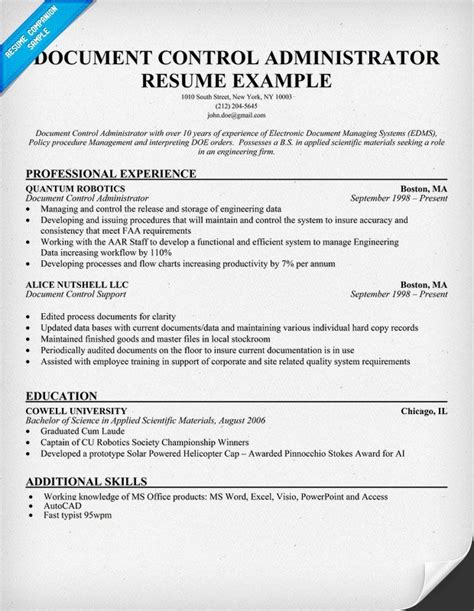 Documents Resume by Document Administrator Resume Help