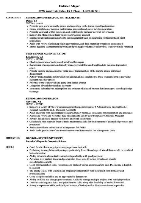 senior administrator resume sles velvet